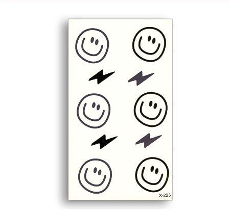 DRTHUKG Etiqueta Engomada del Tatuaje Smile Face Lightning Tattoo ...