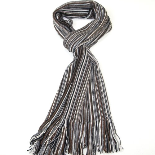 (Grey, Brown and Black Men's Scarf - Fine Merino Wool Striped Scarf for)