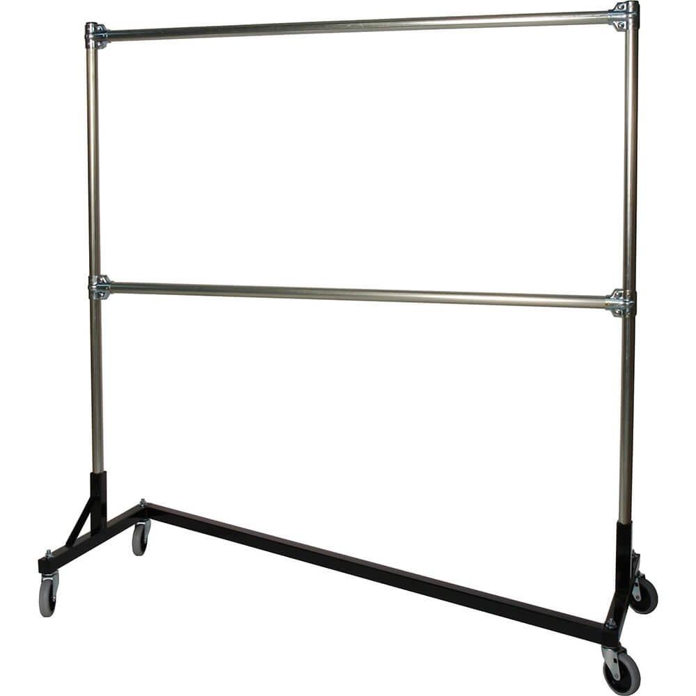 Quality Fabricators Z-Rack, Heavy Duty Clothes Rack 75'' L x 84'' Uprights, Double Rail Black 272842BLK