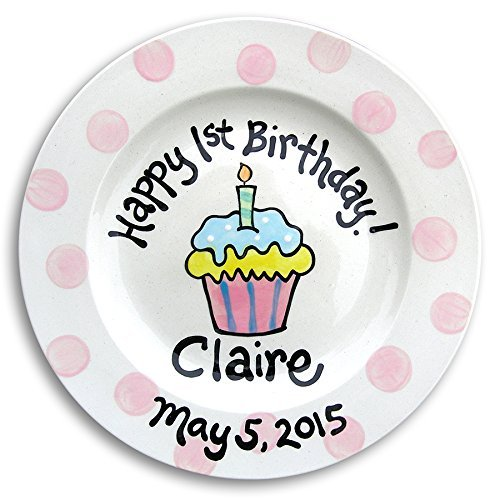 Pink Polkadot Cupcake Plate, Hand Painted Birthday Plate , First Birthday Personalized Pottery Plate - Girl Personalized Hand Painted Plate