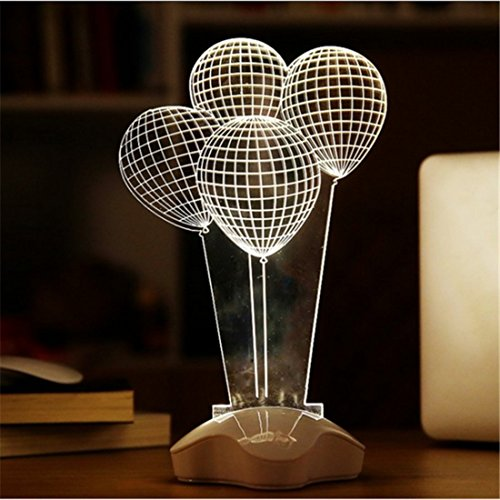Fding 3d Optical Illusion Visualization LED Art Sculpture Night Lights Desk Lamp with Touch Control Lucky Clover Base for Home Decoe Art Decor -Unique Lighting Effects (Balloon)