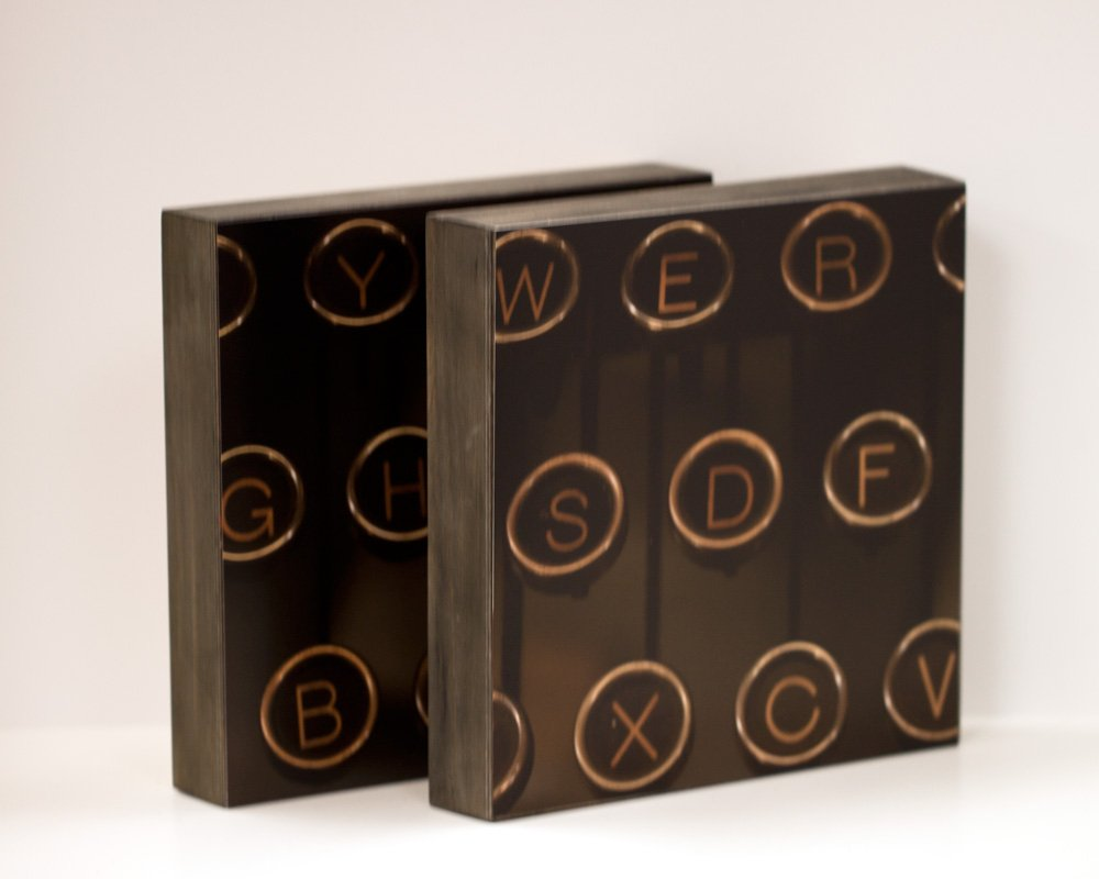 Antique Typewriter - set of 2 8x8 Photo Standouts, Handmade Wall Art, Writer's Gift, Mancave