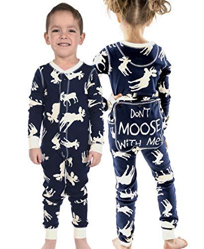 - Classic Moose Blue Kids Flapjack Onsie Pajamas by LazyOne | Adult Kid Infant Dog Family Matching Pajamas (2T)