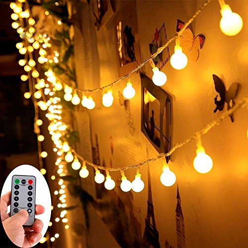 16ft Battery String Lights,KOLIER 50LEDs with Remote Control 8 Modes Battery Operated Christmas Lights Waterproof Indoor/Outdoor for Halloween/Christmas Tree/Bedroom/Wedding(Warm White) - Halloween Christmas Trees