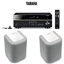 Yamaha Expandable Audio & Video Component Receiver,Black (RX-V483BL) + Pair of Yamaha MusicCast WX-010 Wireless Speaker (White) Bundle