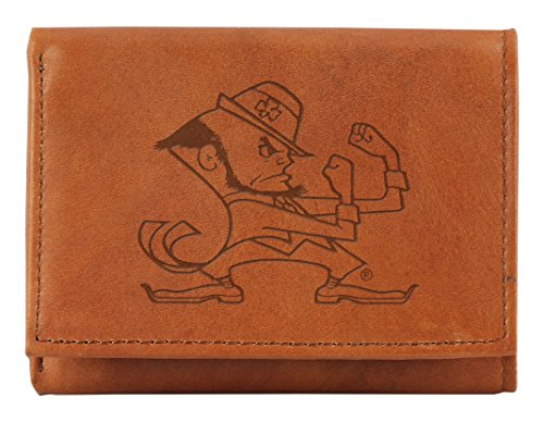 Rico NCAA Notre Dame Fighting Irish Embossed Genuine Leather Trifold Wallet