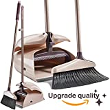 Broom and Dustpan Set - Large Upright Dust pan set and Lobby Broom set with Handles - Dustpan Set for Sweeping Hard Floor Surfaces - Sweeper Broom Indoor and Outdoor - Long Hand Brooms - Beige