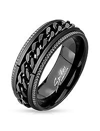 Black IP Grooved Edge Center Black Chain Stainless Steel Spinner Ring R630
