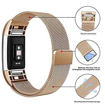Fundro Compatible Fitbit Charge 2 Bands, Milanese Loop Stainless Steel Metal Replacement Accessories Bracelet Strap Unique Magnetic Lock Fitbit Charge 2 (1-Pack Rose Gold, Small)