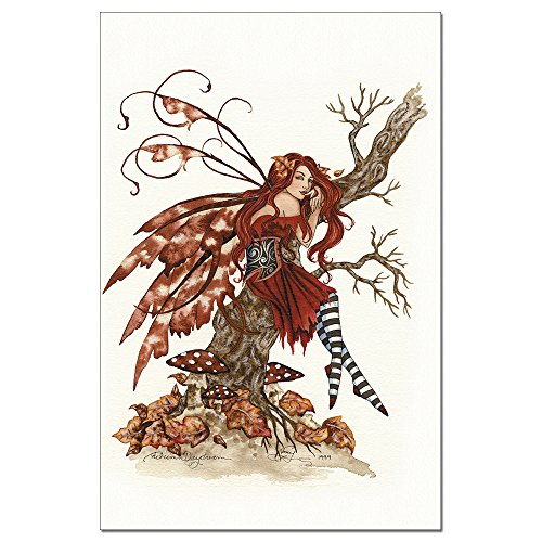 (Tree-Free Greetings EcoNotes 12-Count Autumn Daydream Fairy Blank Notecard Set with Envelopes, Featuring Amy Brown Fairies (FS64537))