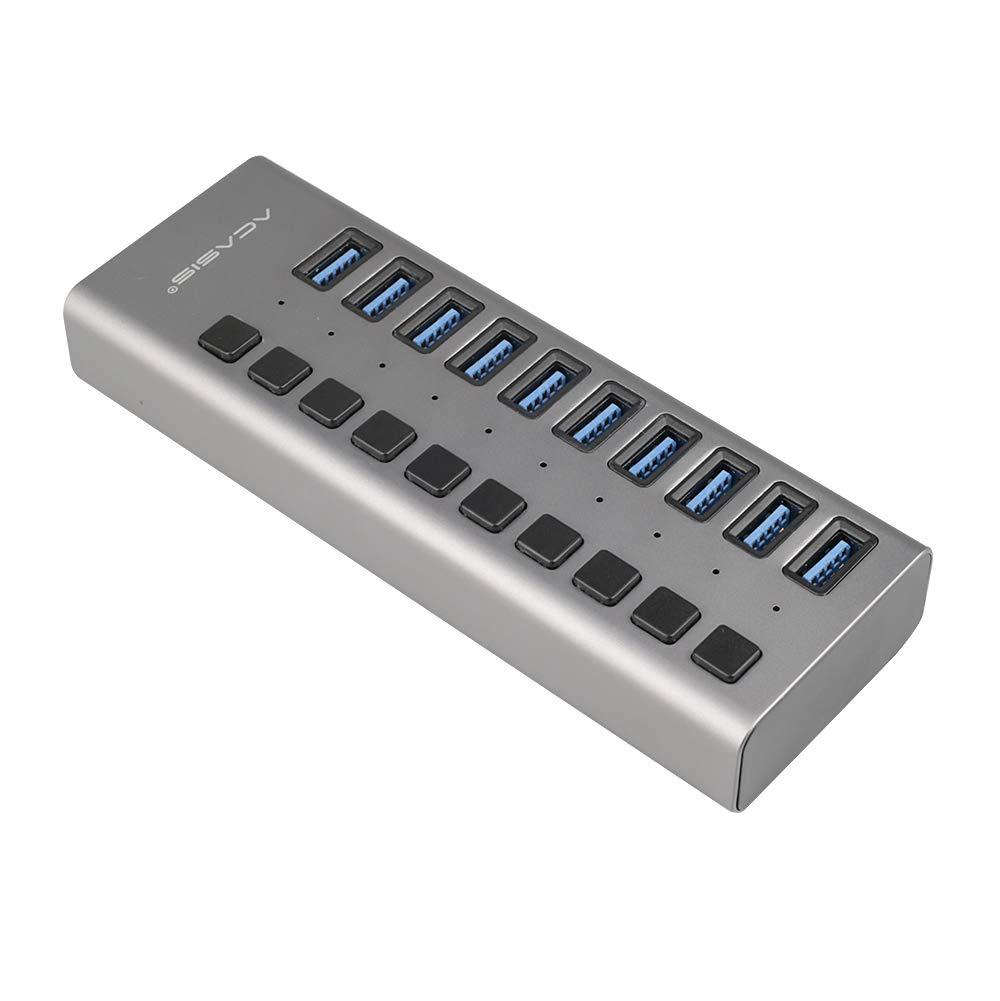 USB 3.0 Hub Super Speed Splitter,10 Port USB Data Hub with Power Adapter,Individual On/Off Switches and Lights for Laptop, PC, Computer, Mobile HDD, Flash Dr(10 Ports Grey)