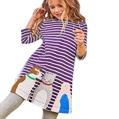 Cartoon Animal Stripe Dress for Toddler Kids Baby Girls Long Sleeve Outfits Clothes -