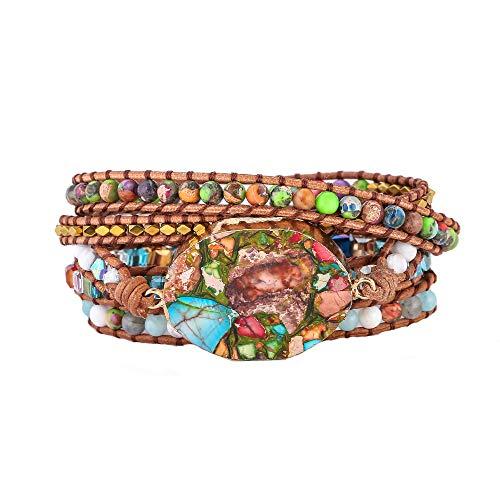 - IUNIQUEEN Boho Rainbow Rhinestone Imperial Jasper Turquoise Mix Bead 5 Wraps Druzy Bracelet Collection (Gold)