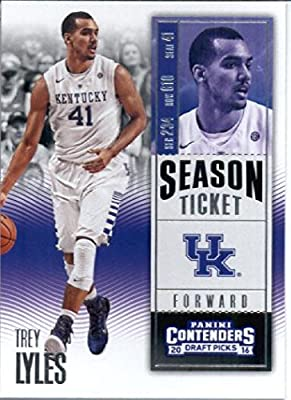 2016-17 Panini Contenders Draft Picks #94 Trey Lyles Kentucky Wildcats Basketball Card in Protective Screwdown Display Case