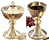 Stratford Chapel Gold Tone Celtic Cross Chalice and Paten Set with Ciborium and Cover, 8 Inch