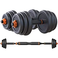 Skyland Enviromental Adjustable Dumbbell N Barbell Set For Unisex Adults - Black