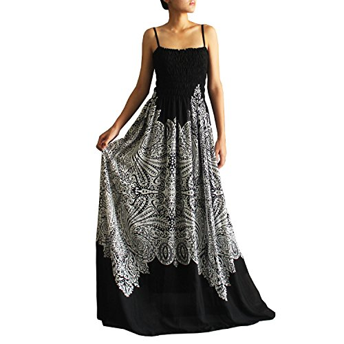 Black & White Women Maxi Party Dress B&W Summer Boho Chiffon Plus Size Clothings (XL) (Black Maxi Dress For Tall Women)