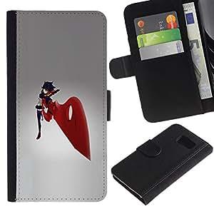 LECELL--Cuero de la tarjeta la carpeta del tirón Smartphone Slots Protección Holder For Samsung Galaxy S6 -- Espada Roja Chica --