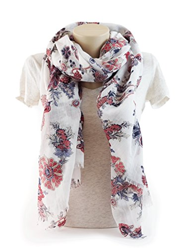 ightweight Elegant Floral Fashion shawl by MIMOSITO (White-Blue Floral) (White Floral Scarf)