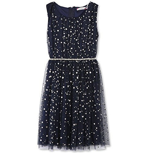 Speechless Big Girls' Jeweled Waist Mesh Dress , Navy Gold Star, (Girls Star Dress)