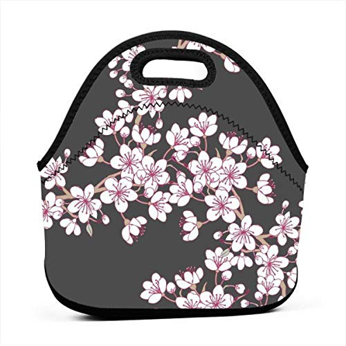 - Fashion.Reborn Neoprene Lunch Bags,Cherry Blossom Lunch Bag for Kids Women and Men,School Picnic Work Lunch Bags,Thermal Cooler Lunch Pouch with Portable Carrying