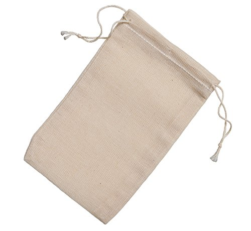 Cotton Muslin Bags 3x5 Inch Double Drawstring 50 Count Pack ()