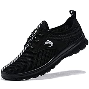 FANIC Men's Comfortable Breathable Casual Running Shoes Full Mesh Lightweight Athletic Walking Shoes (44 M EU/10 D(M) US, ALLBlack)