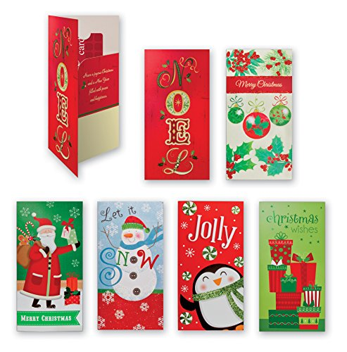 Assorted Embellished Gift Card, and Money Holder Cards, Set of 6 Cards for Christmas, Assorted with Penguins, Santa, Snowman, Noel, Ornaments (Card Santa Holder Gift)