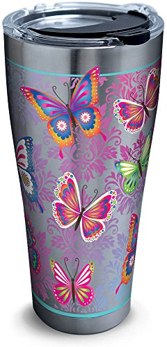 Tervis 1277892 Butterfly Motif Stainless Steel Tumbler with Clear and Black Hammer Lid 30oz, Silver by Tervis