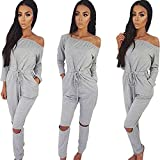 Longwu Women's Fashion Off-Shoulder Drawstring Jumpsuits Rompers Knee Hole Pants Grey-L