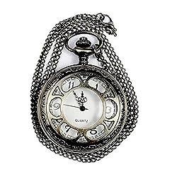 WZC Black Vision Antique Quartz Pocket Watch with Chain