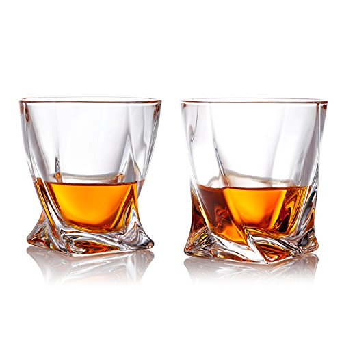 American Scotch Whiskey (10 oz Twist Design Clear Glasses Old Fashioned Whiskey Tumblers, Set of 2)