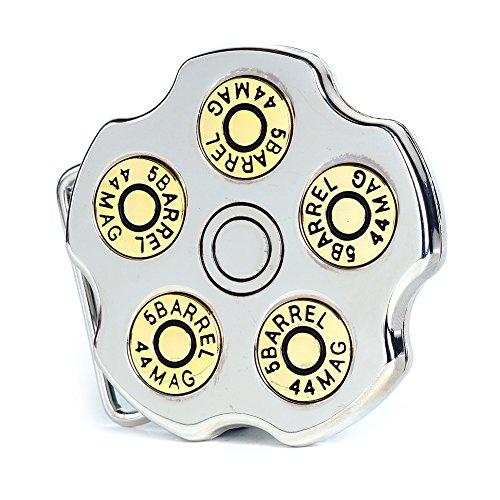 Buckle Rage Adult Unisex Spinning Revolver Cylinder Bullet Belt Buckle Silver (Revolver Buckle)