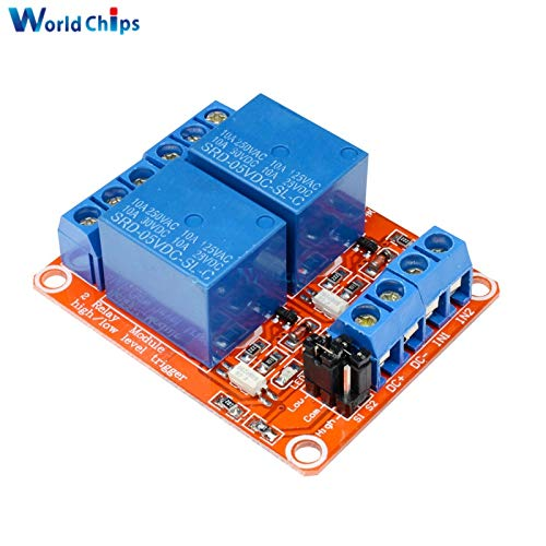 Batcus 5V 2 Channel Relay Module with Optocoupler Isolation Supports High Low Level Trigger 2-Channel 2 CH Relay for Arduino ()