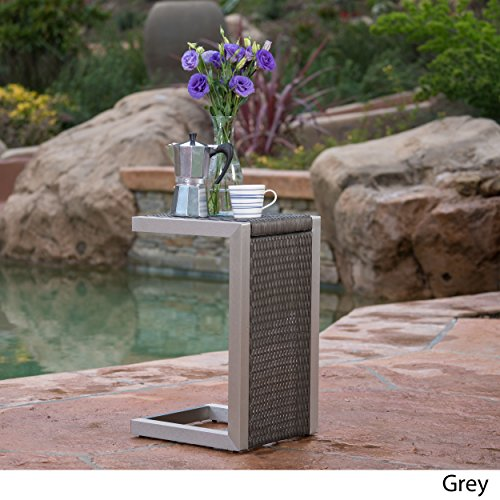 Crested Bay Outdoor Grey Wicker C-Shaped End Table