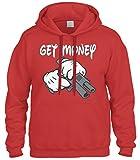 Cybertela Get Money Cartoon Glove Gun Gangster Sweatshirt Hoodie Hoody (Red, Medium)