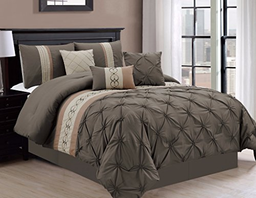 7-piece Coffee Brown Beige Tan Pintuck Pleated Scroll Embroidery Comforter Set, Queen