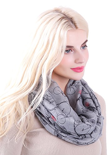 MissShorthair Women's Fashion Soft Cool Bicycle Pattern Sheer Infinity Scarf (Heathered Mid Grey)