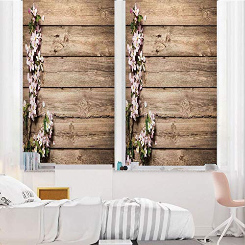 Rustic Home Decor 3D No Glue Static Decorative Privacy Window Films, Sweet Spring Flowering Branch on Weathered Wooden Blooming Orchard,17.7
