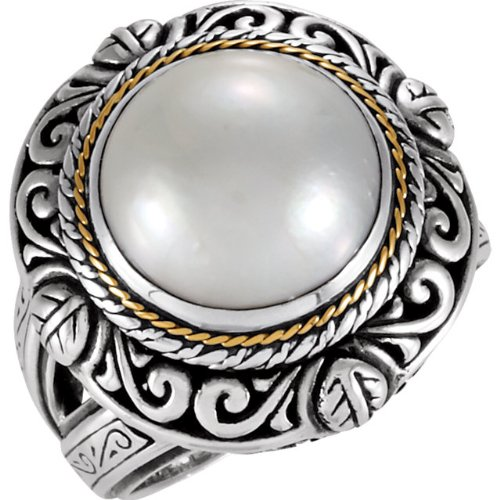 Sterling Silver & 18k Yellow Gold Mabé Cultured Pearl Design Fashion - Gold Ring Pearl Mabe