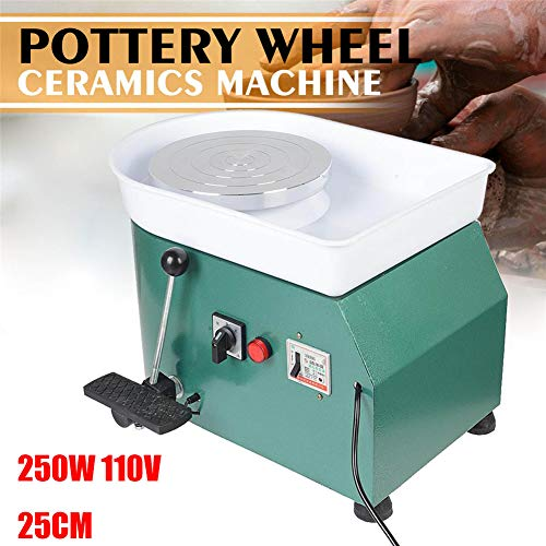NAIZEA Electric Pottery Wheel Machine with Adjustable feet, 9.8 Inch Pottery Wheel DIY Machine for Clay Art Craft Ceramic Work, 110V250W (Green) by NAIZEA (Image #1)