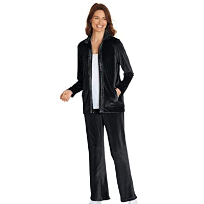 AmeriMark Women's Velour 2 Piece Pant Set Zip Jacket Sparkling Trim with Pants: Clothing