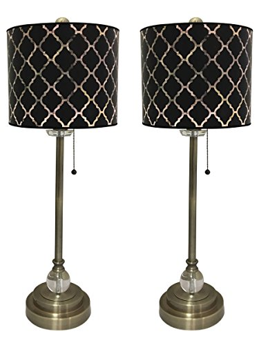"""Royal Designs 28"""" Crystal and Antique Brass Buffet Lamp with Black Moroccan Tile Design Hardback Lamp Shade, Set of 2"""