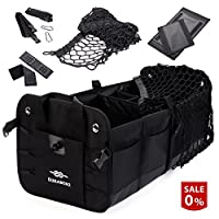 Car Trunk Organizer For Sedan SUV Minivan With Net Cover And Stainless Hooks - Black, Durabenz
