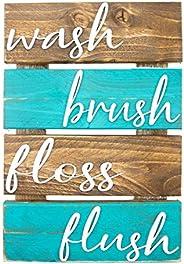 Farmhouse Bathroom Decor - Brown and Teal Wall Decor - Rustic Bathroom Sign - Wash Brush Floss Flush - Hanging