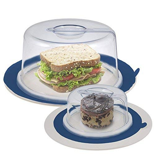 2 PlateTopper (Mini & Tall) Universal Leftover Lid Microwave Cover Airtight (BLUE)