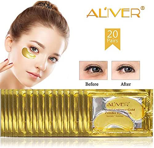 Aliver 24K Gold Collagen Eye Mask,Anti-aging Hyaluronic Acid Repair and Moisturize Puffy Eyes Patch and Pads,Dark Circles Under Eye Treatment (20 PACK)