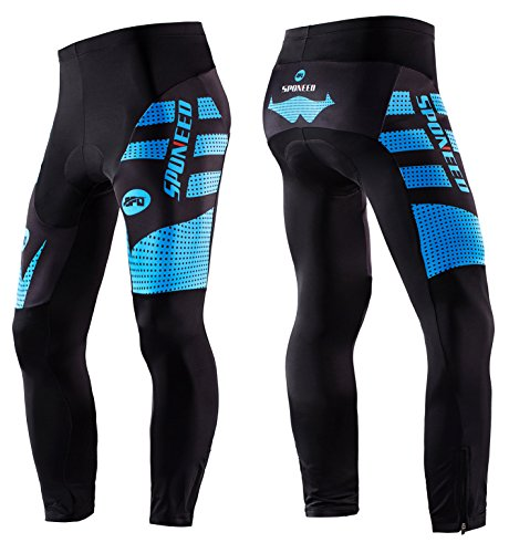Sponeed Bicycle Clothing Men Winter Bike Pants Padded Bicycling Tights Long Sleeve Riding Pant Asian XL/ US L Blue (Bicycling Clothes)