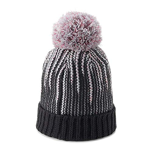 Under Armour Winter Beanie - Under Armour Girls Infinity Pom Beanie, Black (001)/Clear, One Size