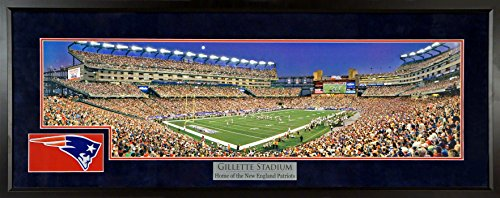 "New England Patriots ""Moon over Gillette"" Gillette Stadium Panoramic w/ Patch (Deluxe) Framed"